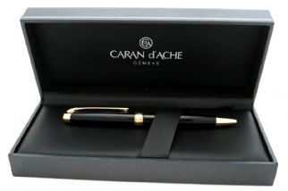 Leman Ballpoint pen in Ebony Black with Gold plated trim